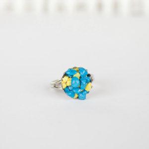Кольцо с камнями бирюза и агат