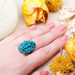 Бронзовое кольцо с камнем бирюза