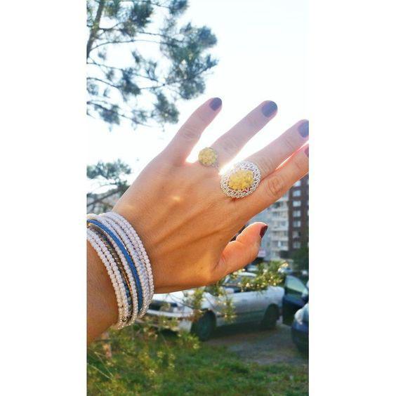 Кольцо с желтым камнем на руке фото