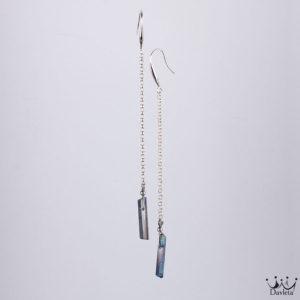 Фото Длинные тонкие серьги с натуральным камнем Пирит