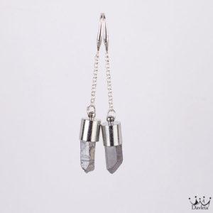 Фото Серьги средней длины с Серебристым Пиритом в оболочке
