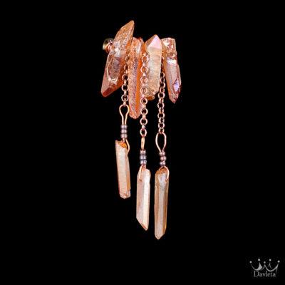 Фото Брошь с 7мью камнями Персикового Граната на медной основе с цепями