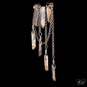 Фото Брошь с 7мью камнями Золотистого Пирита и цепями