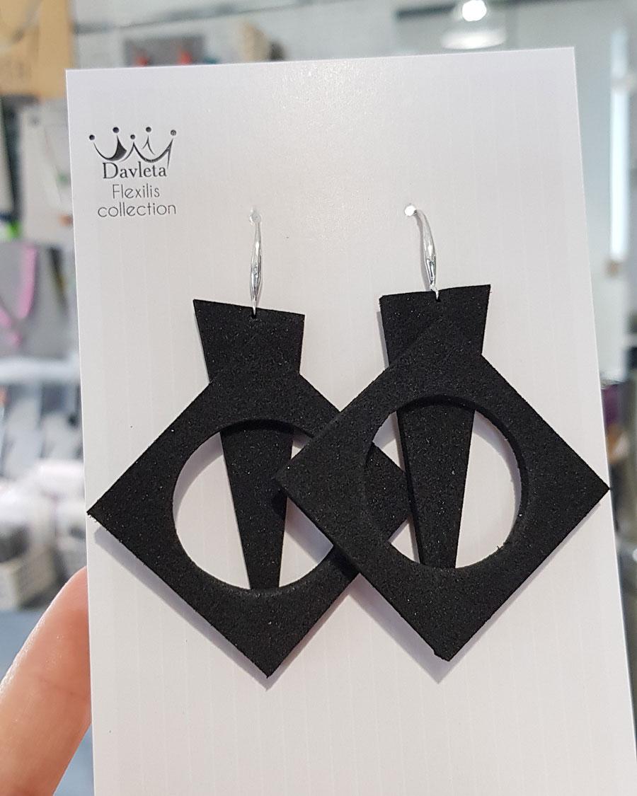 Купить серьги геометрия черные
