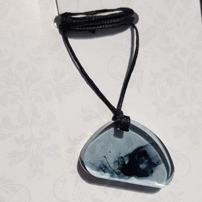 Купить Кулон из ювелирной смолы с черным дымом, неправильная большая форма