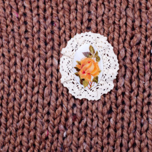 Купить Брошь в стиле Винтаж Желтая роза с кружевами